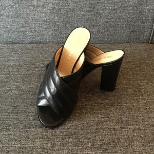 Genuine Black Leather Thick-heeled Sandals